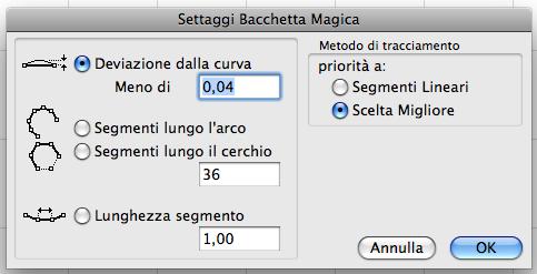 La finestra settaggi Bacchetta Magica