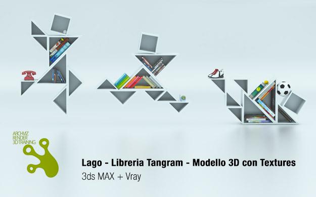Libreria Tangram by Lago Modello 3D Gratis