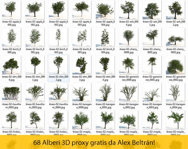 68 alberi 3D proxy gratis per Sketchup