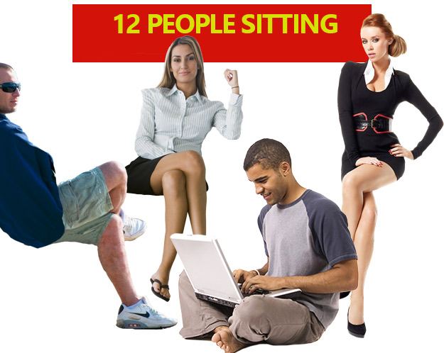 12 free people sitting- 12 persone sedute PNG